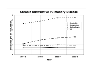 Number of cases of Chronic Obstructive Pulmonary Disease diagnosed at two open-cast coal mining sites and at two control sites.